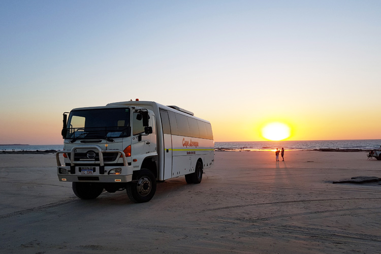 Broome Transit Tours 4WD Bus on cable beach